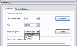 Select the COM port and Interface Speed