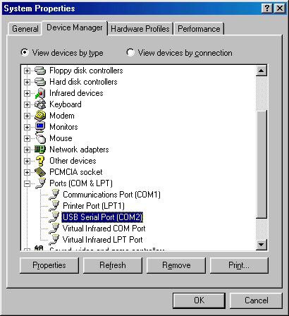 Check port number in Device Manager