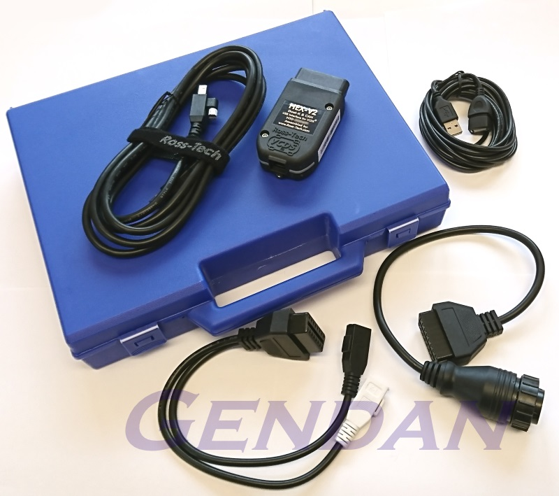 Ross-Tech VCDS HEX-V2 USB diagnostics interface with adaptors, extension cable and case (1992-on)