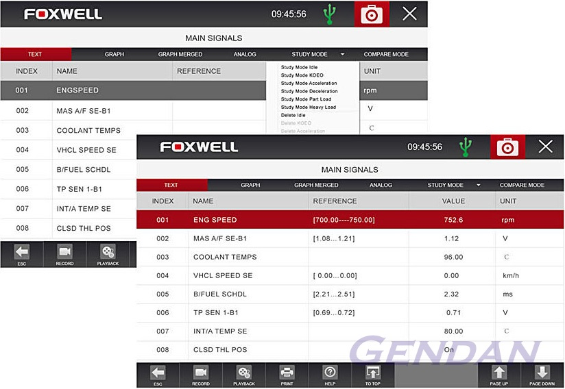 Foxwell GT80 Plus - Learn live sensor values